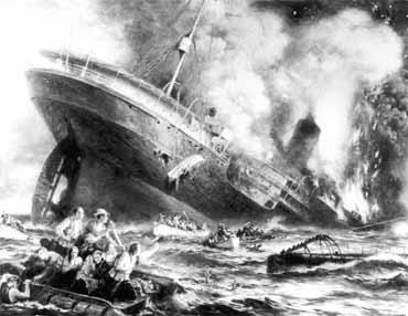 O Lusitânia afundado pelo U-20