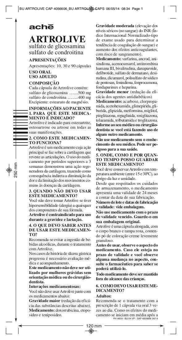 ARTROLIVE sulfato de glicosamina sulfato de condroitina bula completa