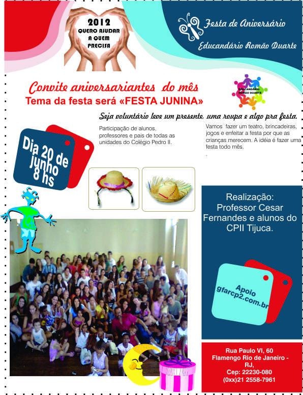 Convite de aniversário no Romão Duarte