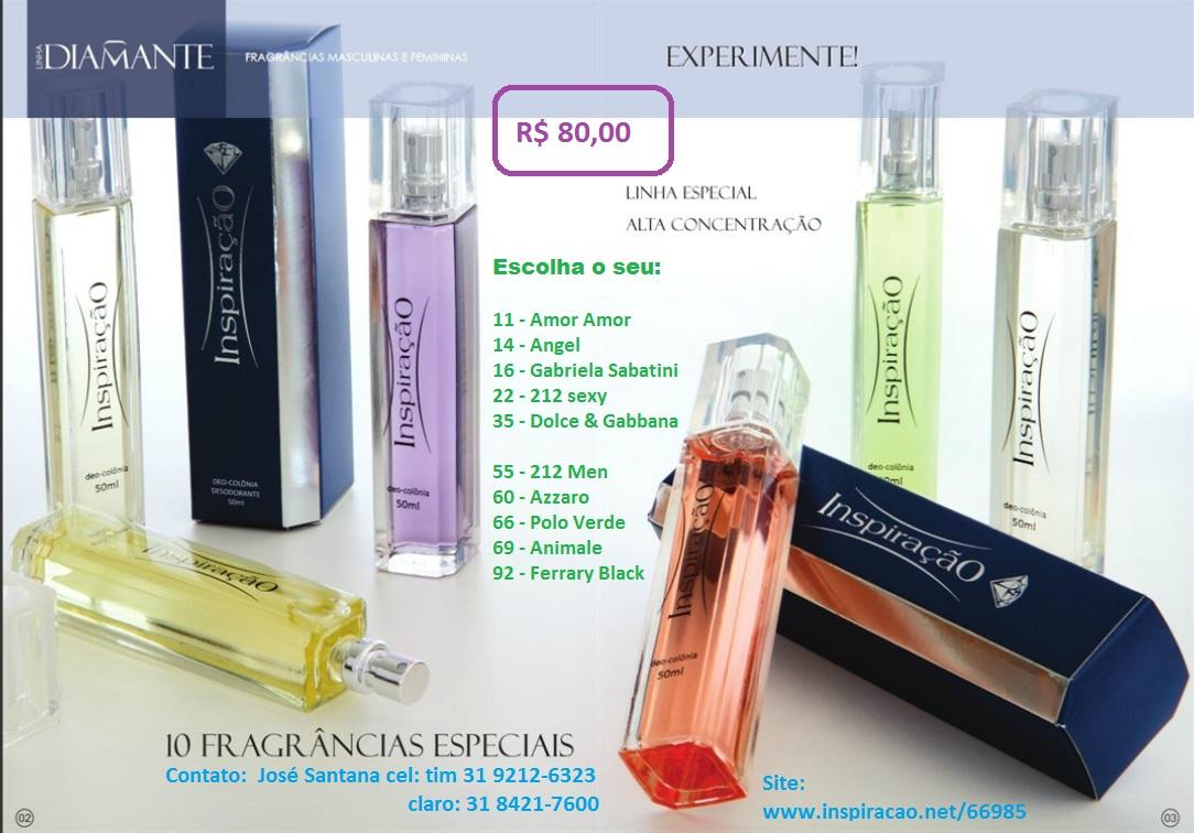 Nomes dos 10 perfumes da Linha Diamante e frasco.