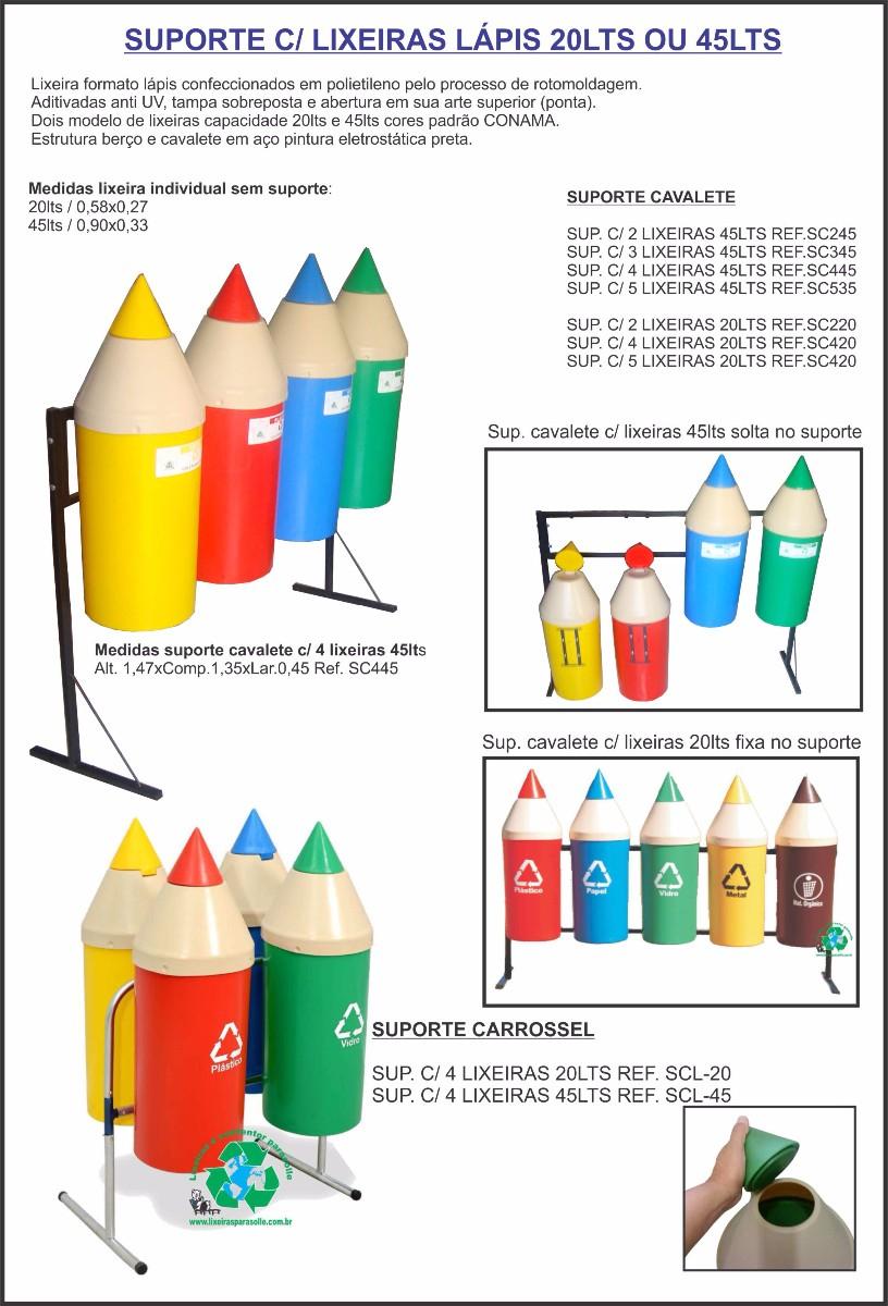 Lixeira lápis com suporte
