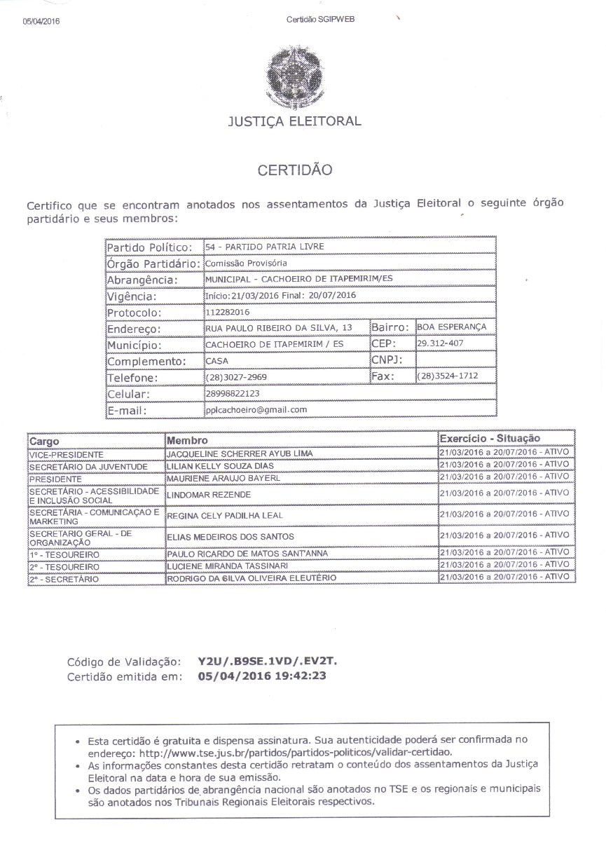 Clica e veja a CERTIDÃO do PPL
