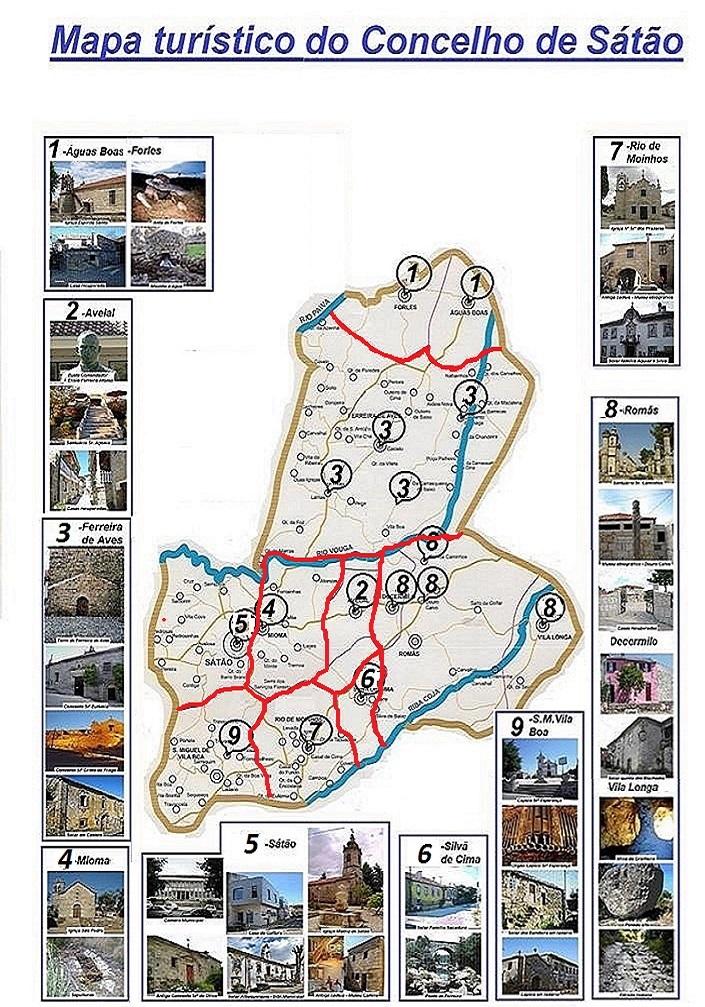 Mapa turístico do Concelho de Sátão