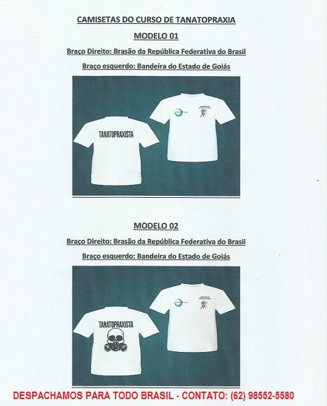 Curso de Tanatopraxia Somato-Conservação de Corpos Maira M. Goiânia, Central Clínica, Camiseta de Tanatopraxia, Uniforme de Tanatopraxia