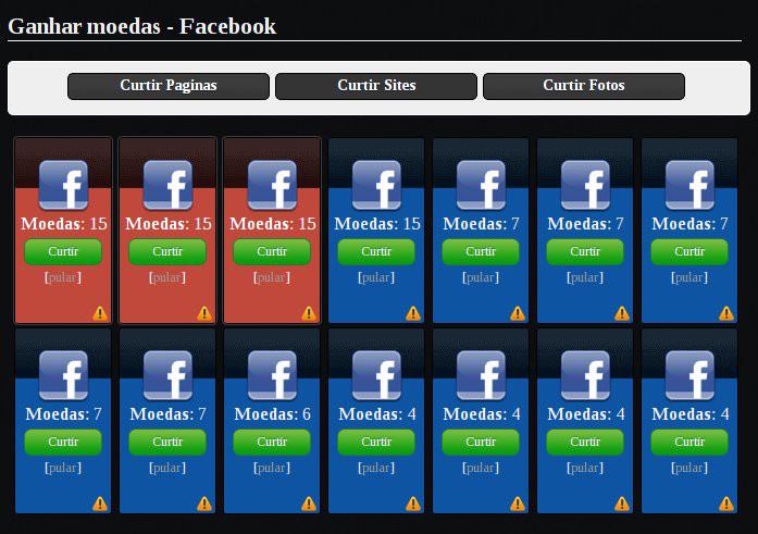 Curtidas no facebook